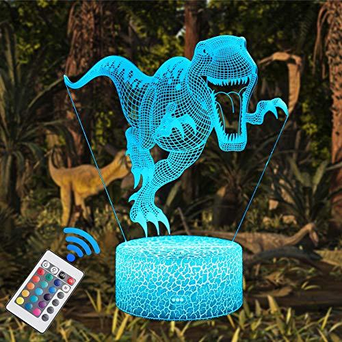 QiLiTd LED Lámpara de Mesa 3D Dinosaurio con Control Remoto Sensor Tacto,...