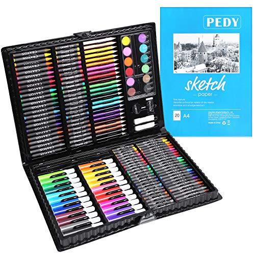 pedy 164 pcs Maletín de Lápices de Colores, Estuche de Pintruas para Niños,...