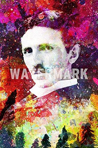 Nikola Tesla Art Print Póster 'COLOURBURST' Art Print Foto Afiche Regalo -...
